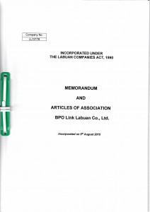 Labuan Company Memorandom & Articles of Association